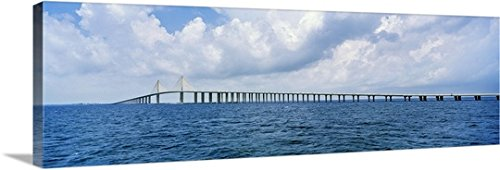 Pietro Canali Premium Thick-Wrap Canvas Wall Art Print entitled Florida, Tampa, Atlantic ocean, Sunshine Skyway Bridge - Sunshine Skyway Bridge