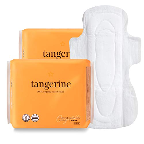Tangerine 100% Certified Organic Cotton Menstrual Period Pads Feminine Sanitary Napkins with Wings (Value Pack, 46)