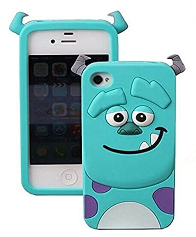 iPhone 5 Blue Monster Silicone Case,iPhone 5S 3D Cartoon Cases,WGOOD Cute Lovely Animal Soft Gel Rubber Silicone Protection Skin Case Cover for Apple iPhone 5 (Rubber Iphone 5s Cases Disney)
