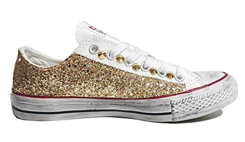 Converse all star ox basse glitter oro bianche optical white vintage ( prodotto artigianale )