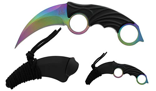 Tactical Survival Tomahawk Throwing Axe and Throwing Knife with Sheath Set. Camping Hunting Fishing Survival Axe Hawk Hatchet (Rainbow) by Tactical Master (Image #4)