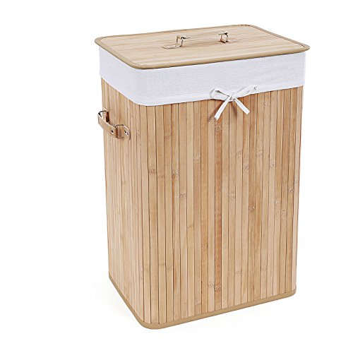 Songmics XL 72L Bambus Faltbar Wäschekorb Wäschebox Wäschetruhe Wäschesammler Wäschetonne Wäschewagen mit Deckel und 3 Griffen LCB102