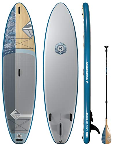 Boardworks Kraken All-Water/Surf Inflatable Stand-Up Paddle Board | SUP Package Includes Pump, Three Piece Paddle and Roller Bag - 11'