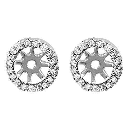 Dazzlingrock Collection 0.25 Carat (ctw) 14K Round Diamond Removable Jackets for Stud Earrings 1/4 CT, White Gold