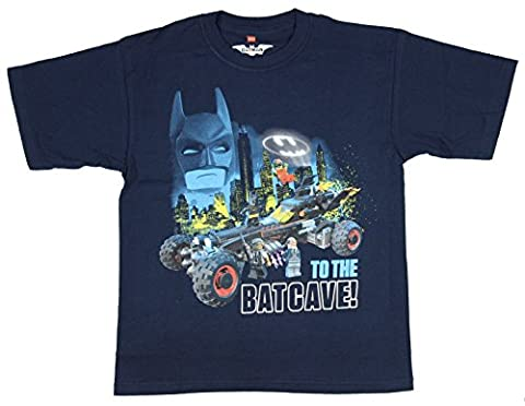 Boys DC Comics Lego Batman Movie To The Batcave Navy Graphic T-Shirt - Small (Legos Movie For Boys)