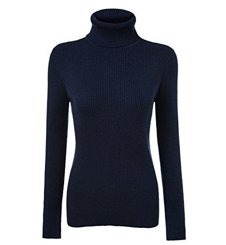 Ribbed Womens Turtleneck - Fengtre Turtleneck Pullover Sweater, Women's Cashmere Stretchy Basic Knit Top,Navy S