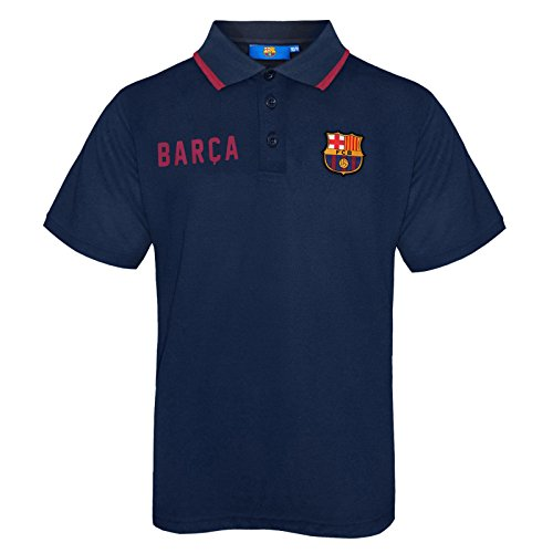 FC Barcelona Official Soccer Gift Boys Crest Polo Shirt Navy Blue 10-11 Years