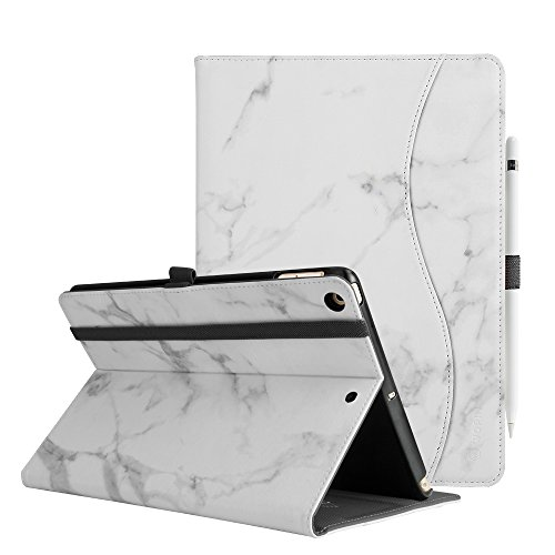 New iPad 9.7 Inch 2018/2017 Case Premium Durable Leather Adjustable Angle Stand Smart Case Folio Cover Auto Wake/Sleep with Apple Pencil Holder for Apple iPad 9.7 iPad 5th/6th Generation,Marble