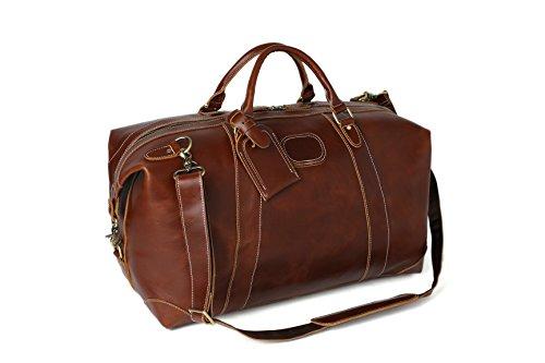 ROCKCOW Reddish Brown Top Grain Leather Travel Duffle Bag Men Shoulder Bag Holdall Bag by ROCKCOW (Image #2)