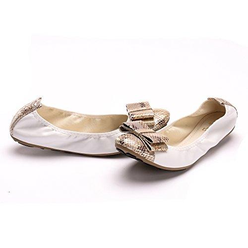 Alexis Leroy ALSS271 - Bailarinas planas y elásticas para mujer Beige