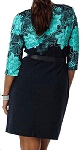 Confortables Femmes Imprimées Taille Haute, Plus La Taille Manches Longues Ciel Robes De Soirée Bleu Maigre