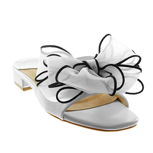Angkorly Chaussure Mode Sandale Mule Slip-on Femme Noeud Tulle Talon Haut Bloc 4 cm Blanc hopOcpTFO7