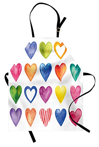 Ambesonne Grunge Apron, Rainbow Color Heart Shapes Valentine's Day Design Romantic His and Hers Theme, Unisex Kitchen Bib with Adjustable Neck for Cooking Gardening, Adult Size, Black White