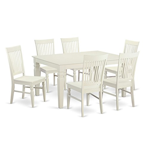 East West Furniture WEST7-WHI-W 7-Piece Dining Table Set (7 Piece Slat)