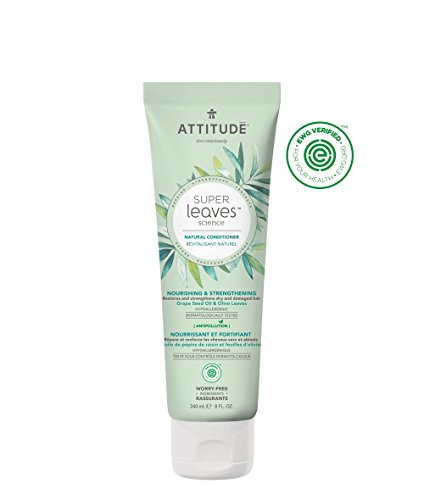 Attitude Natural Conditioner for Dry, Damaged Hair: EWG Verified, Hypoallergenic & Dermatologist Tested - Super leaves Nourishing & Strenghtening (8 oz)