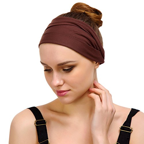 Better Line Bondi Band Hairband for Women and Men - Stretchable, Breathable Headband - Wicks Away Sweat (Brown Mini Helmet Face Mask)