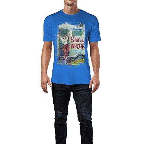 SINUS ART® Sin of Wheels Herren T-Shirts stilvolles royal blaues Fun Shirt mit tollen Aufdruck