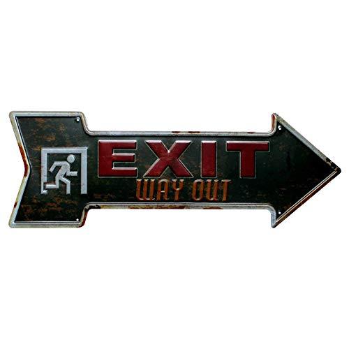 Hosaire 1x Cartel de Estaño Exit Diseño Forma de Flecha,Placa de Arte Pintura de estaño Moda,Decoración Bar Café Vintage Pub 45x16cm