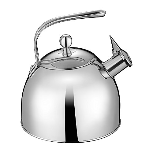 Injoy Whistling Tea Kettle 304 Stainless Steel Teapot Classic Cookware in LFGB/FDA Standard for All Stovetops - 1  Insulation Pad Included, 2.64 Quart/2.5 L, Silver by InJoy (Image #1)