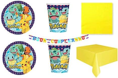 Party Store Web by Casa Dolce Casa Pokemon Pikachu - Juego de vajilla para fiesta de Pokémon -