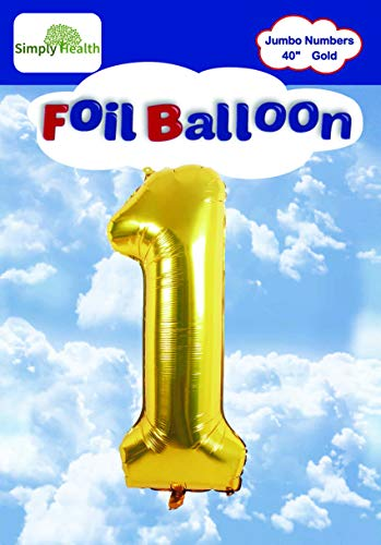 40 Gold Jumbo Digital Number Balloons Huge Giant Balloons Foil Mylar Balloons for Birthday Party,Wedding, Bridal Shower Engagement Photo Shoot, Anniversary (Number One #1)
