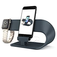 Apple Watch Stand/ iPhone 7/7Plus/6S/6S Plus/5/5S/5C/Ipad Mini Charging Station, hooroor 2 in 1 Apple Watch iPhone Charging Dock Holder for iWatch Series 2/Series 1 All Models (Space Gray)
