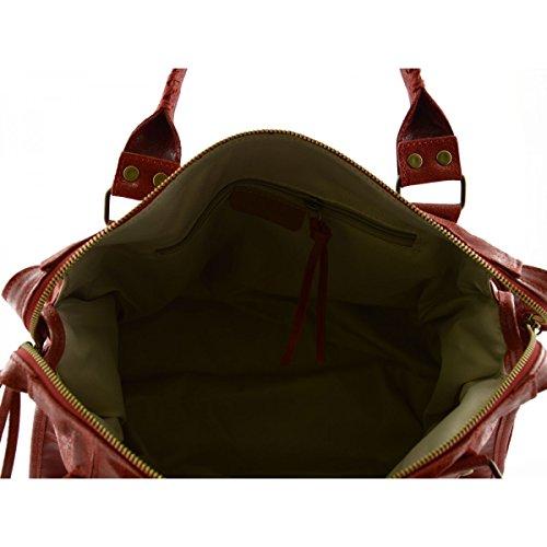 Borsa Donna In Vera Pelle Con Borchie E Lacci Colore Rosso - Pelletteria Toscana Made In Italy - Borsa Donna