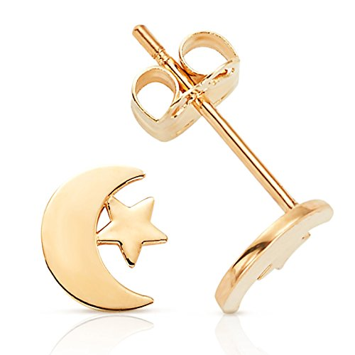 (Jewel Connection Adorable Solid Moon and Star Stud Earrings in 14K Yellow Gold for Women and Girls)
