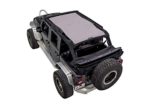 Price comparison product image SPIDERWEBSHADE Jeep Wrangler Mesh Shade Top Sunshade UV Protection Accessory USA Made with 5 Year Warranty for Your JKU 4-Door (2007-2018) in Grey