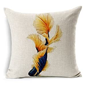 CCTUSGSH Ocean Tropical Fish Cotton Throw Pillow Case Cushion Cover 16 X 16 Inches One Side