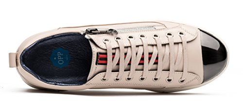 Opp Scarpe Casuali Lace-up In Pelle Bianca
