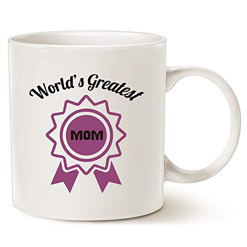 Mothers Day Christmas Gifts Best Coffee Mug for Mom - Worlds Greatest Mom - Unique Gifts for Mother, Mom, Mama, Grandma, Porcelain Cup White, 11 Oz