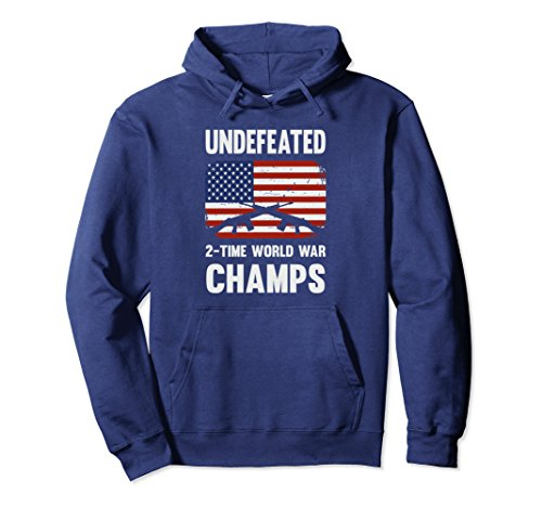 Unisex Undefeated 2 Time World War Champs Hoodie Medium Navy
