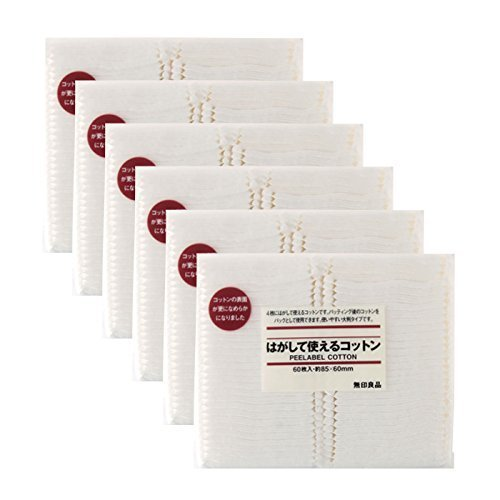 Muji Japan 4 Layers Facial Cotton Pad Peelable Cotton (60 sheets) 6Packs Set