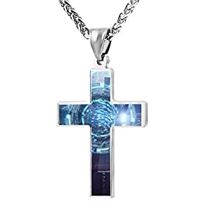 Cross Religious Jewelry Depths Space Pendant Necklace Patriotic Cool Lord's Zinc