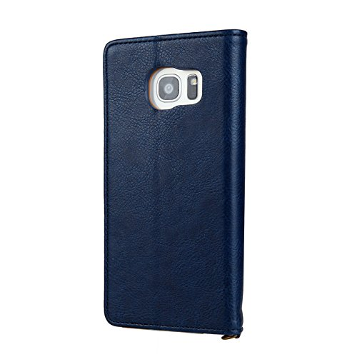 MeiLiio Phone case Samsung S8 Premium PU Leather with Card Slot Lightweight Dual Layer Design Retro Simple Stylish Vintage Fashion Smart Stand Wallet Case for Samsung galaxy S8 (Blue)