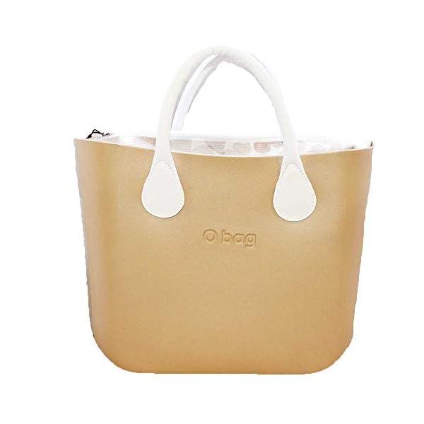 OBAG Borsa o bag mini champagne sacca farfalle cipria manico corto bianco 1