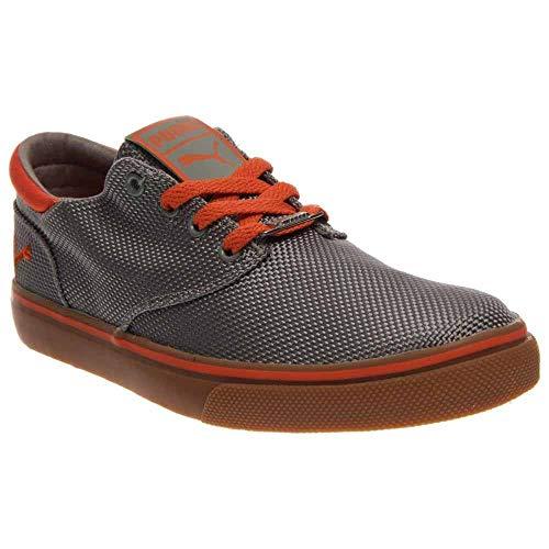 PUMA Men's El Seevo Canvas Shoes (14, Limestone Gray/Tiger Orange)
