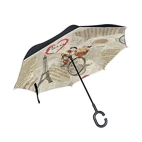 Ladninag Retro Newspaper Paris Eiffel Tower Bike Inverted Umbrella, Large Double Layer Outdoor Rain Sun Car Reversible Umbrella -