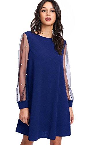 DIDK Women's Pearl Beading Mesh Long Sleeve Dress Blue M