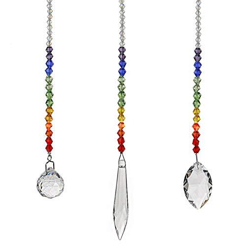 KUPOO Glass Crystal Ball Prism Rainbow Hanging suncatcher Window suncatcher Set of 3 ()
