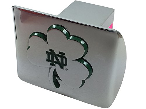 (Notre Dame Shamrock METAL emblem (chrome with green trim) on chrome METAL Hitch Cover)