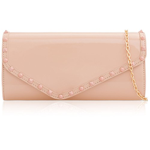 Pink Patent Xardi Women's Blush Baguette Envelope Evening Prom London Clutch Parties Studs Shaped Ladies Strap Leather 140 Bag Chain Matching cm Rvf5nf
