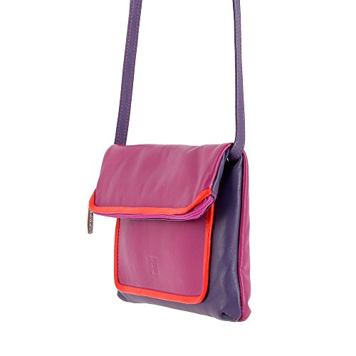shoulder Purse for color Real with Womens strap and Fuchsia in Bag Clutch DUDU Multi Leather zip detachable tq86fE1