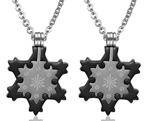 Daesar His & His Necklace Set Couples Stainless Steel Snowflake Pendant Necklace