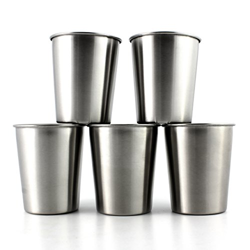 Stainless Steel Toddlers Kids Preschoolers Tumbler Cups (5-Pack) Brushed Finish,Compact Size for Children 6 Oz, Dishwasher Safe