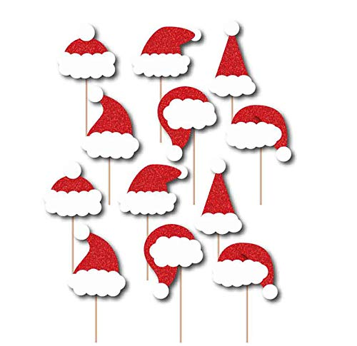 SWYOUN 24PCS Glitter Cupcake Toppers Christmas Santa Hat Party Favors Party Decoration