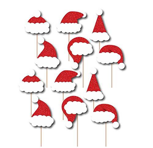 SWYOUN 24PCS Glitter Cupcake Toppers Christmas Santa Hat Party Favors Party -