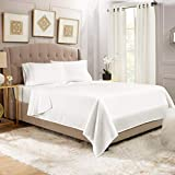 Empyrean Bedding 14' - 16' Deep Pocket Fitted Sheet 4 Piece Set - Hotel Luxury Soft Double Brushed Microfiber Top Sheet - Wrinkle Free Fitted Bed Sheet, Flat Sheet and 2 Pillow Cases - Queen, White