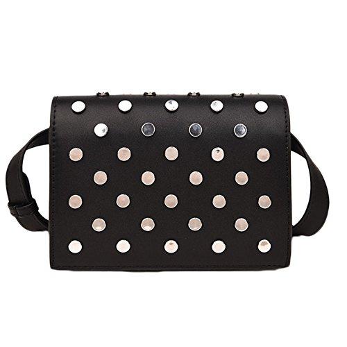 Vintage Shoulder Bag Hand Woman Shoulder Bags With Rivets Black Black